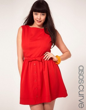 Image 1 ofASOS CURVE Skater Dress With Bow Front