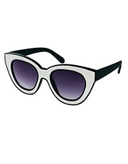 Quay Black &amp; White Square Sunglasses