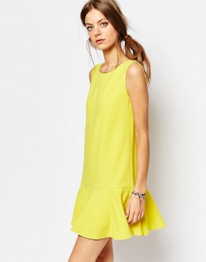 Suncoo Drop Waist Dress in Yellow