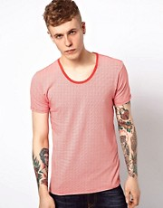 Scotch &amp; Soda T-Shirt With  Fine Stripe Scoop Neck