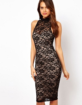 Image 1 ofLipsy Midi Lace Dress with High Neck
