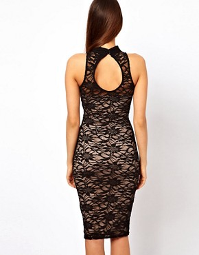 Image 2 ofLipsy Midi Lace Dress with High Neck