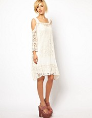 ASOS Crochet Dress With Cold Shoulder