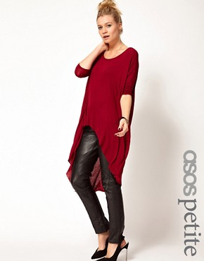 Image 1 ofASOS PETITE Exclusive Dip Back Top With 3/4 Sleeves