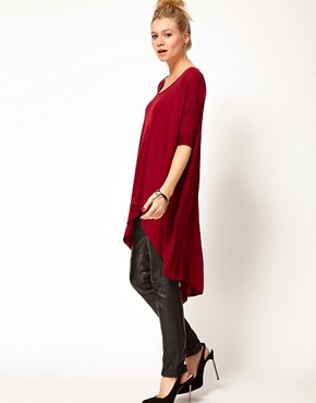 Image 4 ofASOS PETITE Exclusive Dip Back Top With 3/4 Sleeves