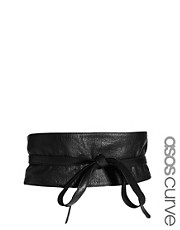 ASOS CURVE Leather Obi Belt With Tie Detail