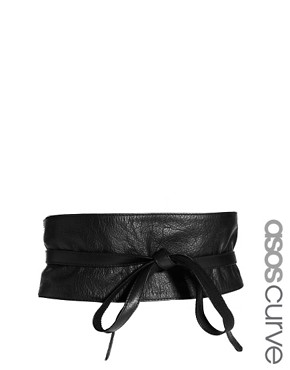 Image 1 ofASOS CURVE Leather Obi Belt With Tie Detail