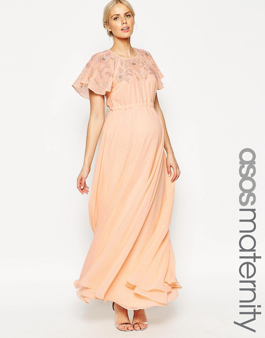ASOS Maternity Maxi Dress With Embellishment And Flutter Sleeve - Pink
