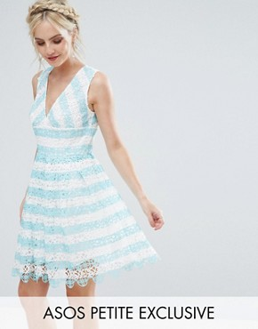 ASOS PETITE SALON Lace Mini Dress in Stripe