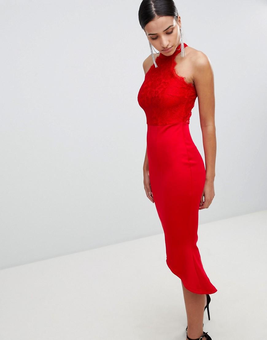 Imagen principal de producto de Vestido de neopreno con bajo de volante fruncido, espalda de nadador y encaje de AX Paris - AX Paris