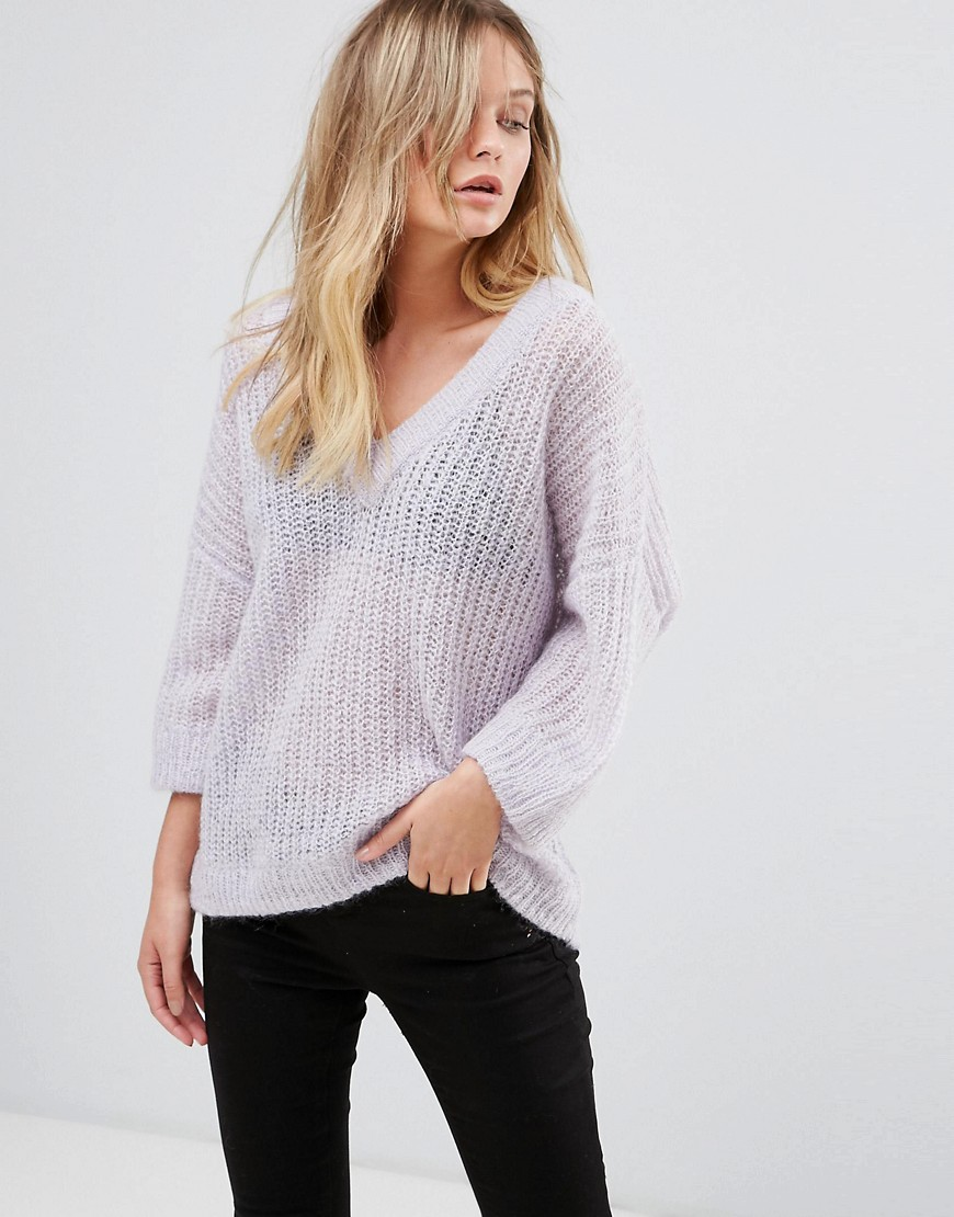 Selected 3/4 Sleeve V-Neck Jumper - Purple