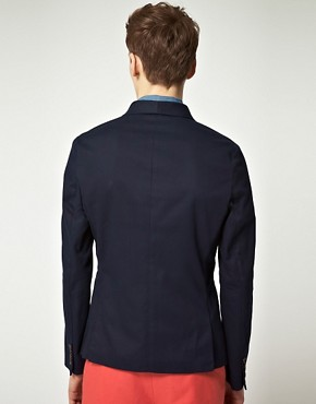 Image 2 of ASOS Slim Fit Canvas Blazer in Navy