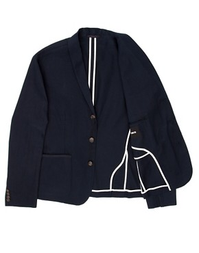 Image 3 of ASOS Slim Fit Canvas Blazer in Navy
