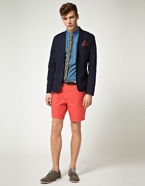 Image 4 of ASOS Slim Fit Canvas Blazer in Navy