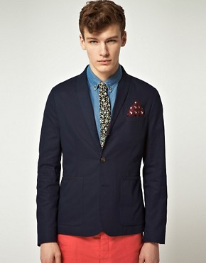 Image 1 ofASOS Slim Fit Canvas Blazer in Navy