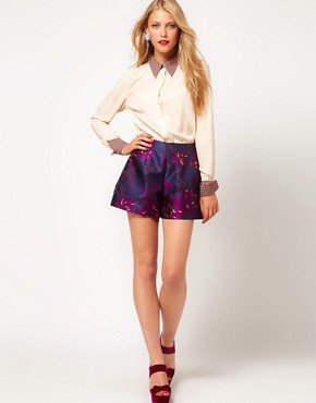 Image 1 ofASOS Premium High Waist Floral Shorts