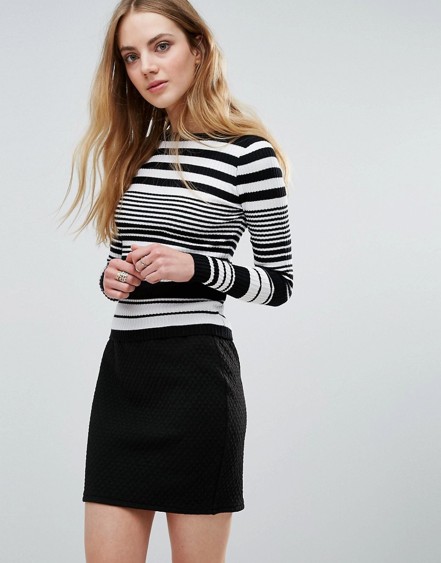 QED London Stripe Sweater - Black