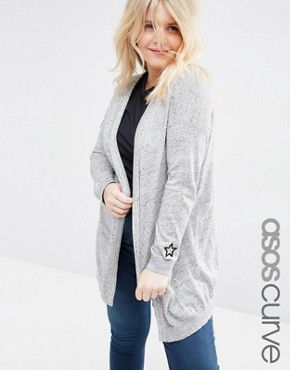 ASOS CURVE Swing Cardigan with Cuff Patches