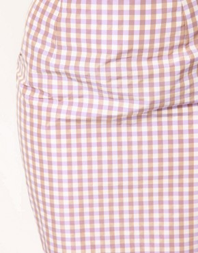Image 3 ofASOS PETITE Exclusive Pencil Skirt In Gingham