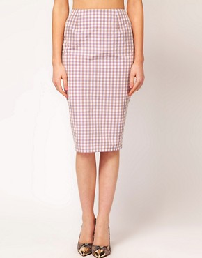 Image 4 ofASOS PETITE Exclusive Pencil Skirt In Gingham