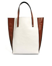 Whistles Wooster Leather Two-Tone Shopper Bag