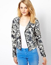 Vila Floral Denim Biker Jacket