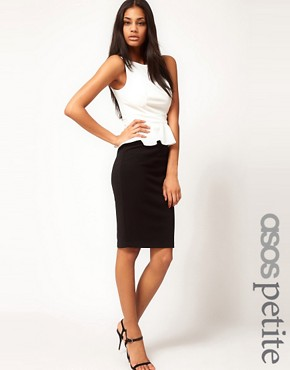 Image 1 ofASOS PETITE Exclusive Pencil Dress With Peplum Top