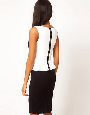 Image 2 ofASOS PETITE Exclusive Pencil Dress With Peplum Top