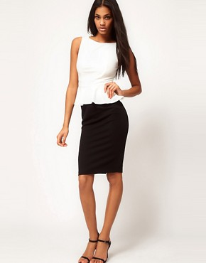 Image 4 ofASOS PETITE Exclusive Pencil Dress With Peplum Top