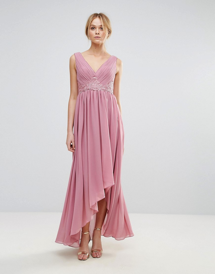 Y.A.S Maxi Dress With Embroidered Bodice And Hi Lo Hem - Purple