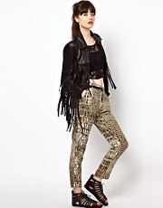 One Teaspoon Peg Trousers in Croc Print