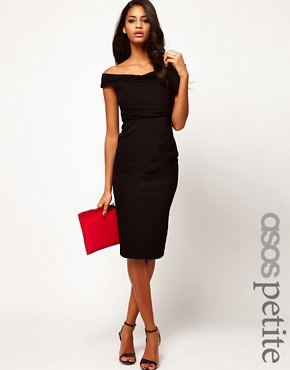 Image 1 ofASOS PETITE Exclusive Sexy Draped Pencil Dress With Off The Shoulder Detail