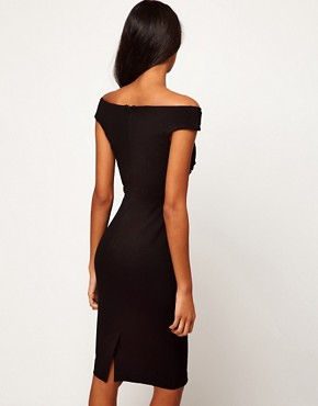 Image 2 ofASOS PETITE Exclusive Sexy Draped Pencil Dress With Off The Shoulder Detail