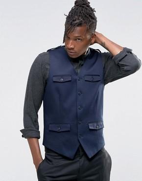 Темно-синий зауженный жилет с карманами ASOS - Темно-синий