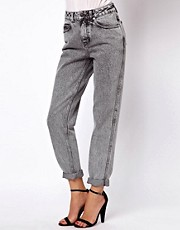 ASOS Mom Jeans in Acid Wash Gray