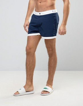 ASOS Mid Length Swim Shorts In Navy With Fixed Waistband