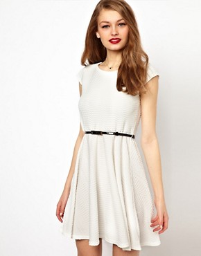 Image 1 ofA Wear Textured Skater Dress With Belt