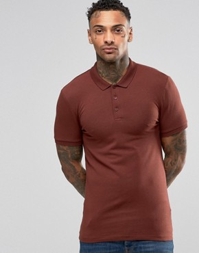 ASOS Extreme Muscle Jersey Polo Shirt In Red