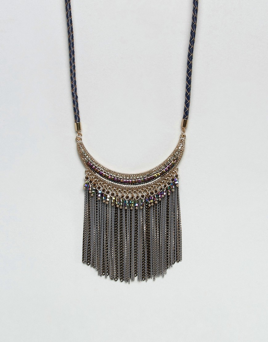 Nylon Festival Statement Fringe Festival Necklace - Black