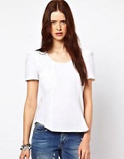 By Zoe Textured Peplum Blouse with Pocket