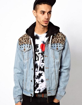 Image 1 ofVintage Denim Jacket with Studded Leopard Pannels