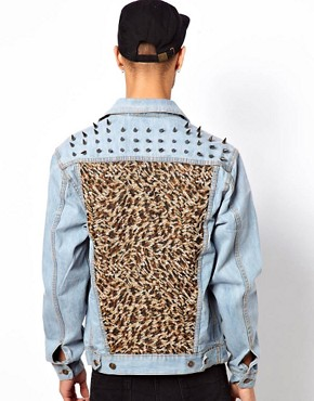 Image 2 ofVintage Denim Jacket with Studded Leopard Pannels