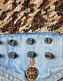 Image 3 ofVintage Denim Jacket with Studded Leopard Pannels