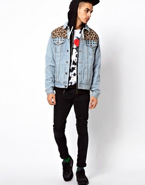 Image 4 ofVintage Denim Jacket with Studded Leopard Pannels