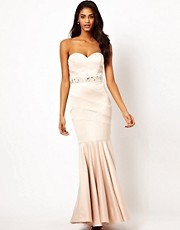 Lipsy VIP Bandeau Fishtail Maxi Dress with Embellished Waistband