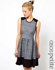 ASOS PETITE Sleeveless Skater Dress In Colourblock