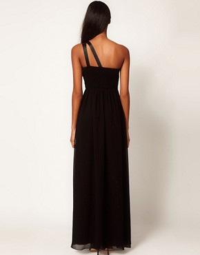 Image 2 ofLittle Mistress Embellished One Shoulder Maxi Dress