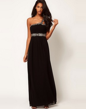 Image 4 ofLittle Mistress Embellished One Shoulder Maxi Dress