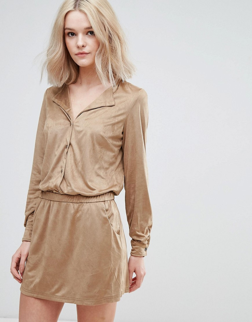 Vila Faux Suede Festival Mini Dress - Tan