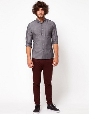 Image 4 ofASOS Denim Shirt With Polka Dots